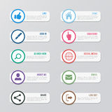 Web site vector icons set. Social media design elements for design Royalty Free Stock Photos