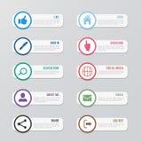 Web site vector icons set. Social media design elements for design royalty free illustration