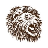 Web. Sketch vector lion head. The grin of the open mouth of the beast is isolated on a white background royalty free illustration
