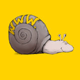 Web snail. Illustration of a snail with a snail shell and the writing www on it Stock Photos