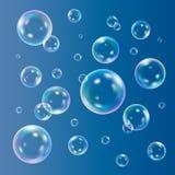 Soap bubbles set. Soap bubbles on blue background, vector set stock illustration