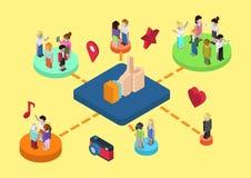 Web social em linha isométrica lisa da conexão dos meios 3d infographic