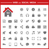 Web and social media icons set. On red and white background royalty free illustration