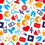 Web and social networks simple color icons seamless pattern eps10 Stock Photo