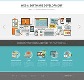 Web and software development template. Coding, social network and hosting concept Royalty Free Stock Photography