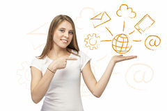 Web solution girl. Beautiful girl offers with her hand  web solution with stylized icons Royalty Free Stock Photo