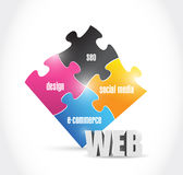 Web solutions puzzle illustration design Stock Images