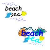 web Sommerferienillustration - Seeeinwohner auf einem Strandsand gegen einen sonnigen Meerblick lizenzfreie abbildung