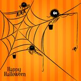 Web, spiders and fishing in Halloween style Stock Photography