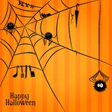 Web, spiders and some things in Halloween style Royalty Free Stock Photography