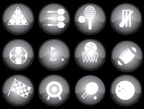 Web sports icons. Assorted black-glazed sports icons and buttons Royalty Free Stock Images