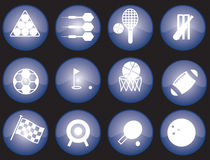 Web sports icons. Assorted blue-glazed sports icons and buttons Stock Photos