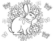 Spring came. Easter card. Picture for coloring. Easter bunny, wreath, flowers and butterflies. royalty free illustration