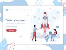 Web startup banner. Launch of the rocket. Web banner design template. Startup concept. Teamwork and development. Flat vector illustration royalty free illustration