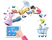 Web store market with purchasing product process via internet. Isolated on stylish background Stock Image