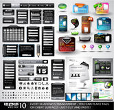 Web Stuff black Extreme Collection:. 3 Full websites,hundreds of icons,headers,footers,login forms, paper tag with transparent shadow,stickers,business cards Royalty Free Stock Photography