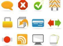 Web Style Icon Set Royalty Free Stock Photo