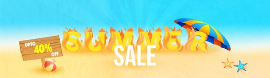 Web summer sale header or banner design with fire and upto 40% o. Ff offers Stock Photo