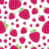 Web. Summer seamless pattern with delicious juicy strawberries on white background. Can be used in your project or printing Stock Image