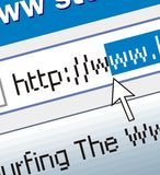 Web surfing. Address line on the computer, blue, gray, white background, the cursor arrow Royalty Free Stock Images