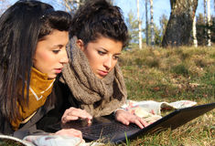 Web surfing outdoor Royalty Free Stock Photo