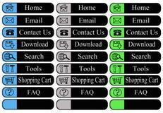 Web-Tasten mit Ikonen Stockbild