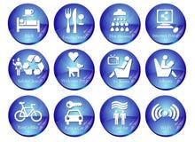 Web-Tasten mit Reisen-Ikonen Stockbilder