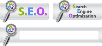 Web-Tasten mit SEO Text Lizenzfreie Stockfotografie
