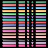 Web-Tasten, sortierte Farben und Formen Stockbild