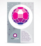 Web technologies company booklet cover design. 3d design, colorf. Ul abstract vector faceted shape Stock Images
