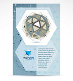 Web technologies company booklet cover design. 3d origami abstra. Ct grayscale mesh object, vector abstract design element stock illustration