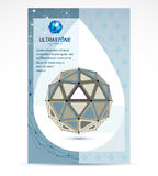 Web technologies company booklet cover design. 3d origami abstra. Ct grayscale mesh object, vector abstract design element Stock Images