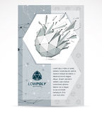 Web technologies company booklet cover design. 3d origami abstra. Ct grayscale mesh object, vector abstract design element with broken fractures stock illustration