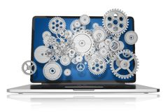 Web Technologies. Concept Illustration. Modern Laptop Computer with Mechanical Elements, Gears and Cog Wheels. Laptop Illustration  on White. Technology Royalty Free Stock Photo