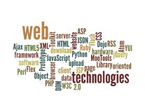 Web Technology word cloud isolated Royalty Free Stock Images