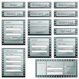 Web Template. Illustration of set of web templates with login,registeration and sign up forms in film strip style Royalty Free Stock Photos