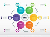 Web Template for circle diagram or infographics. Business presen. Tation concept with 6 options. Vector infographic of technology or education process. Part of Stock Photo