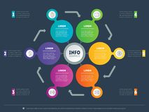 Web Template for circle diagram or infographics. Business presen. Tation concept with 6 options. Vector infographic of technology or education process. Part of Stock Photos