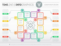 Web Template for circle diagram or presentation. Business concept with 12 options. Vector infographics of technology or education stock illustration