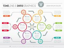 Web Template for circle diagram or presentation. Business concept with six options. Vector infographic of technology or education vector illustration