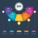 Web Template of a circle info chart, diagram or presentation on. Dark background. Business presentation or infographics concept with 5 options. Vector Stock Image