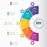 Web Template of a circle info chart, diagram or presentation. Ve. Ctor infographic of technology or education process with 5 steps. Business presentation or Stock Photo