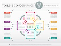 Web Template for circle science diagram or presentation with log. O. Four steps to a healthy life. Concept of recreation with 4 options. Vector infographic of Stock Photography