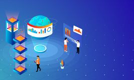 Web template design, Miniature business people analysis data on. Shiny blue background for Global Data Analysis concept vector illustration