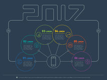Web Template 2017 of a info chart, diagram or presentation made. From lines. Part of the report with icons set. Vector infographic of technology or education Royalty Free Stock Photo