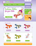 Web template for on line kid shop Royalty Free Stock Photo