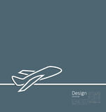 Web template logo of plane in minimal flat style line Royalty Free Stock Photos