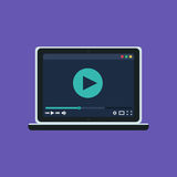 Web Template of Notebook Video Player Stock Photos