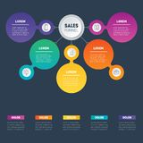 Web Template of a sales pipeline, purchase funnel, sales funnel,. Chart or diagram. Business presentation concept with 5 options. Vector infographic of Royalty Free Stock Image