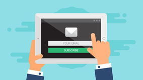 Web Template of Tablet Email Form Royalty Free Stock Photography
